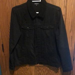 Black Denim Sherpa Collar Trucker Jacket